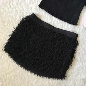 Express Black Fringe Skirt